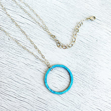 Load image into Gallery viewer, aqua fine silver open circle karma eternity necklace on sterling silver chain seaside harmony jewelry