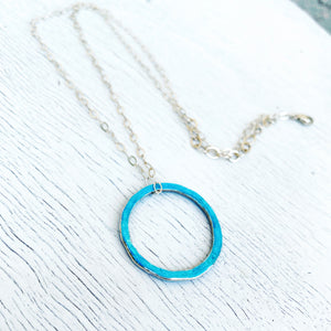 aqua fine silver open circle karma eternity necklace on sterling silver chain seaside harmony jewelry