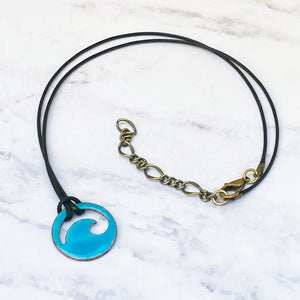 aqua enamel mini wave necklace black cord