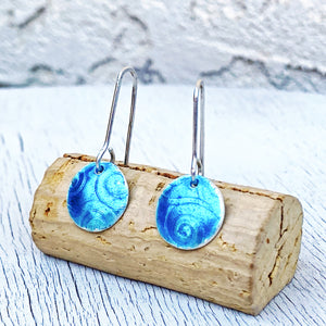 aqua blue fine silver spiral texture round earrings seaside harmony jewelry