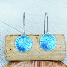 Load image into Gallery viewer, aqua blue fine silver spiral texture round earrings seaside harmony jewelry
