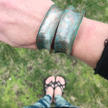 Load image into Gallery viewer, aqua swirls copper cuffs on arm
