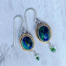 Load image into Gallery viewer, azurite  earrings gold rims glass teardrops