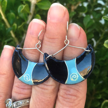 Load image into Gallery viewer, light blue and black enamel half moon earrings with spiral cloisonne seaside harmony