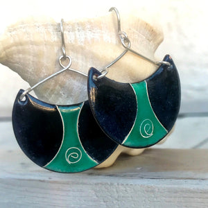 seagreen and black half moon enamel earrings with cloisonne spiral