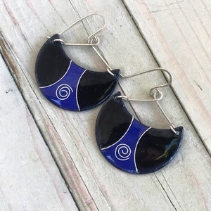 Ultramarine Blue and black enamel half moon earrings cloisonne spiral seaside harmony