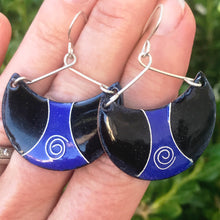 Load image into Gallery viewer, Ultramarine Blue and black enamel half moon earrings cloisonne spiral seaside harmony