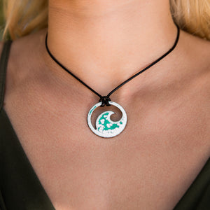 Seagreen Enamel Wave Necklace - Seaside Harmony Jewelry