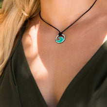 Load image into Gallery viewer, seagreen enamel mini wave necklace on model