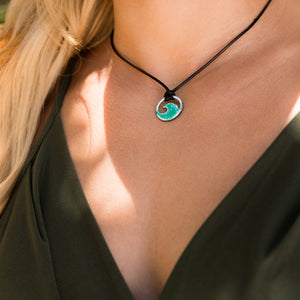 seagreen enamel mini wave necklace on model
