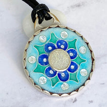 Load image into Gallery viewer, mandala cloisonne druzy pendant seaside harmony jewelry