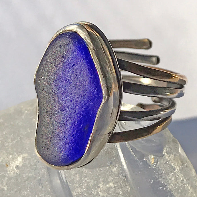 cobalt blue sea glass ring sterling silver 4 bands seaside harmony