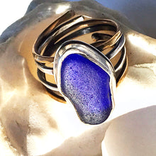 Load image into Gallery viewer, cobalt blue sea glass ring sterling silver 4 bands seaside harmony