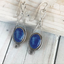Load image into Gallery viewer, lapis lazuli sterling spiral earrings