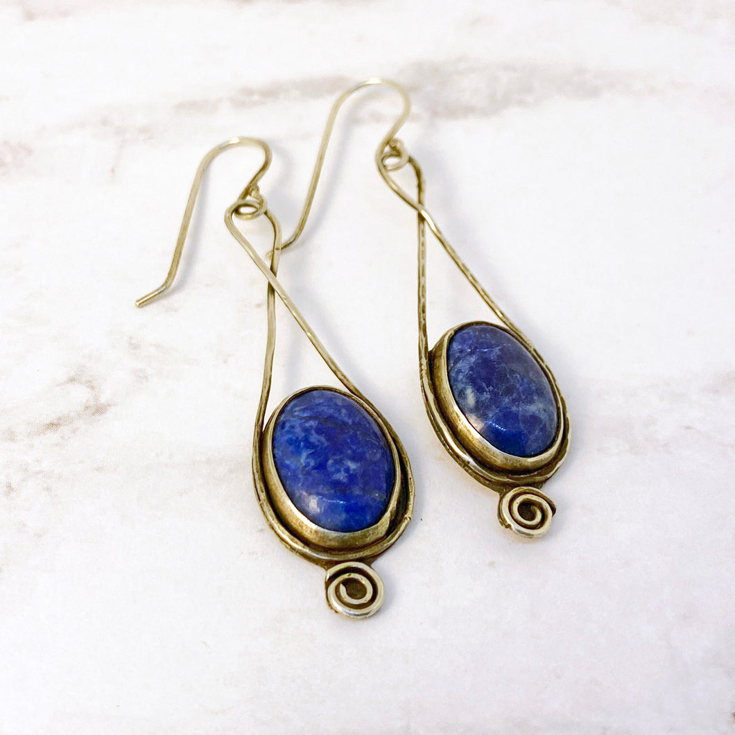 lapis lazuli sterling spiral earrings