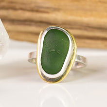 Load image into Gallery viewer, emerald green sea glass sterling and brass ring seaside harmony