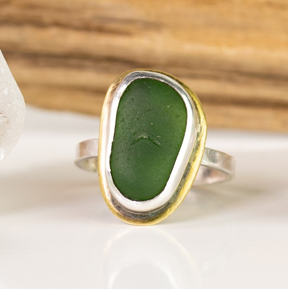 emerald green sea glass sterling and brass ring seaside harmony