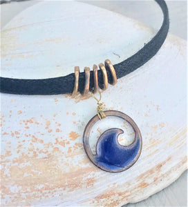transparent midnight blue mini wave choker on black cord seaside harmony