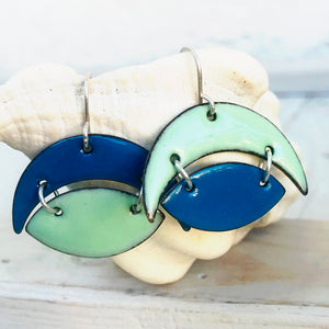 geometric half moon crescent and oval enamel earrings robins egg blue and slate blue seaside harmony