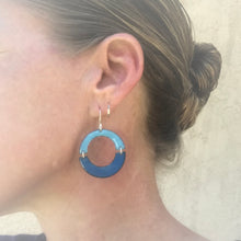 Load image into Gallery viewer, geometric double U blue enamel earrings on model