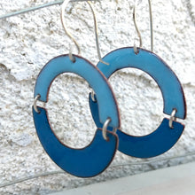 Load image into Gallery viewer, geometric double U blue enamel earrings