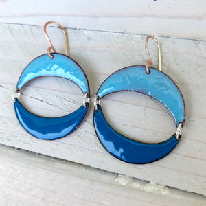 geometric double moon crescent enamel blue earrings