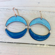 Load image into Gallery viewer, geometric double moon crescent blue enamel earrings
