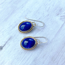 Load image into Gallery viewer, lapis lazuli gold rimmed earrings