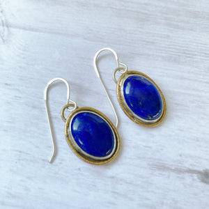 lapis lazuli gold rimmed earrings