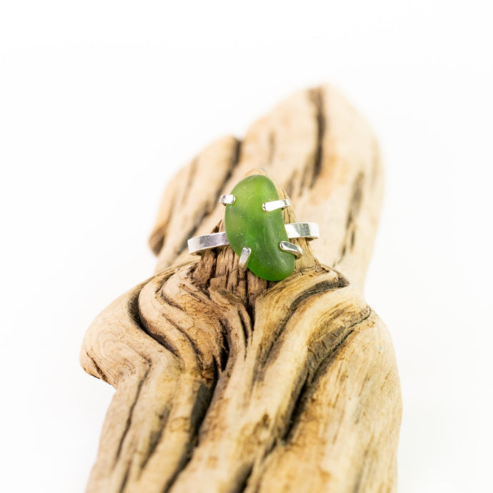 green seaglass ring with prongs sterling silver seaside harmony