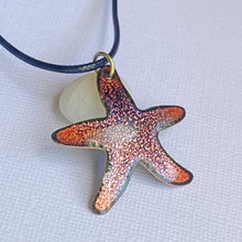Load image into Gallery viewer, seastar starfish enamel necklace seaside harmony jewelry