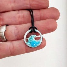 Load image into Gallery viewer, blue green enamel ocean bubbles mini wave necklace
