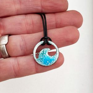 blue green enamel ocean bubbles mini wave necklace