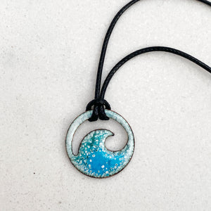 blue green enamel mini wave necklace Seaside Harmony Jewelry