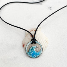 Load image into Gallery viewer, blue green enamel mini wave necklace Seaside Harmony Jewelry