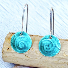 Load image into Gallery viewer, seagreen fine silver enamel spiral texture disc earrings seaside harmony jewelry