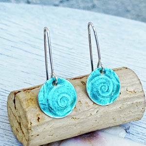seagreen fine silver enamel spiral texture disc earrings seaside harmony jewelry