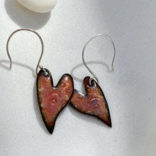 Load image into Gallery viewer, handmade stamped enamel heart earrings