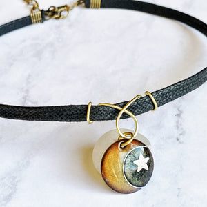 moon and stars enamel cloisonne pendant seaside harmony jewelry