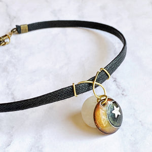 moon and star enamel choker with black cord seaside harmony jewerly