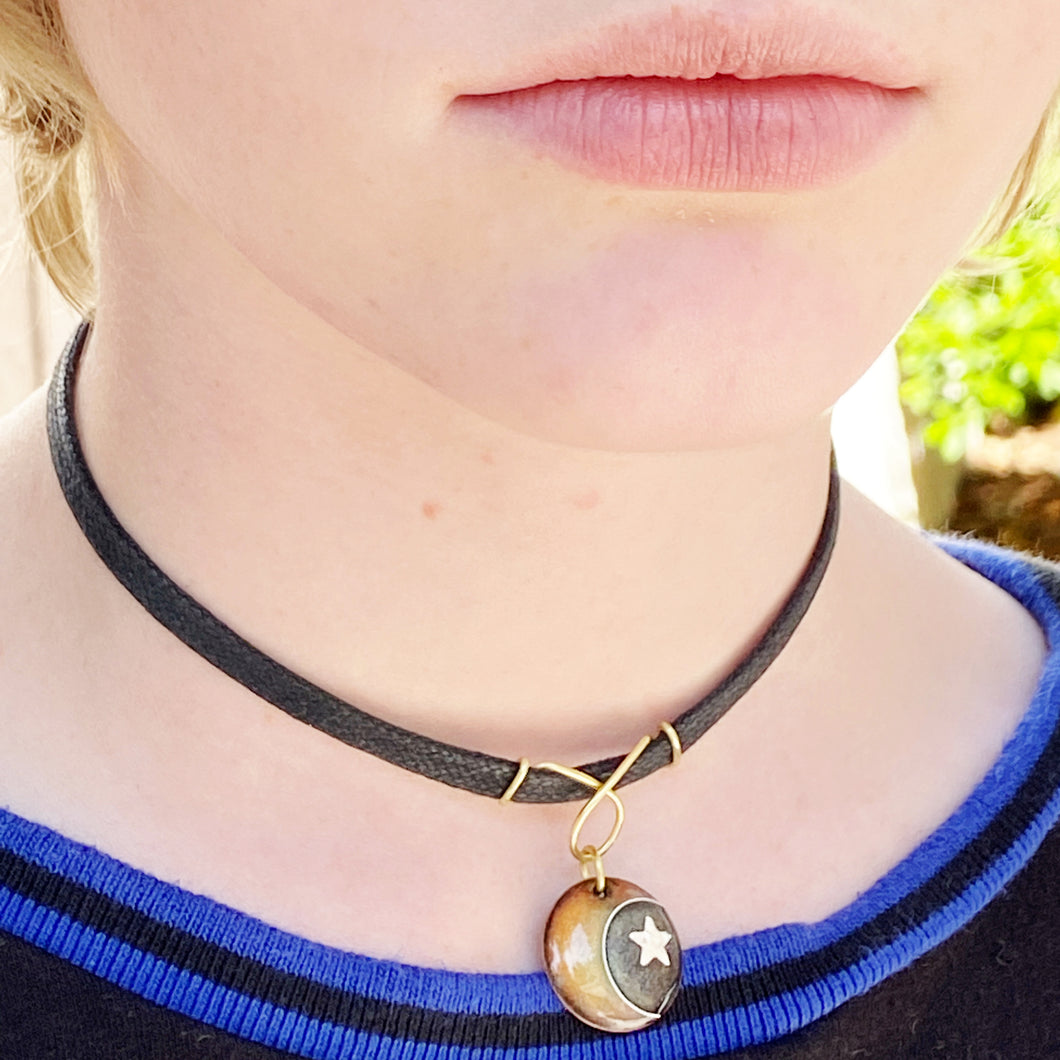 moon and star enamel choker with black cord