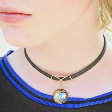 Load image into Gallery viewer, moon and star enamel choker with black cord seaside harmony jewerly