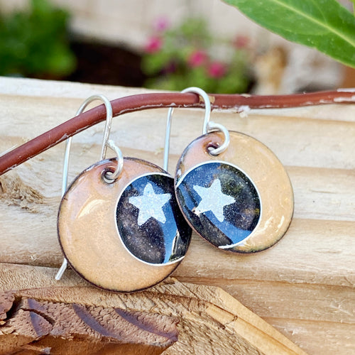 Moon and stars enamel earrings