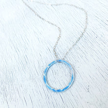 Load image into Gallery viewer, light blue fine silver open circle karma eternity necklace with sterling silver chain seaside harmony jewelry