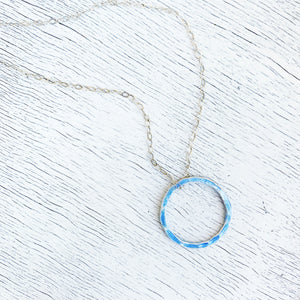 light blue fine silver open circle karma eternity necklace with sterling silver chain seaside harmony jewelry