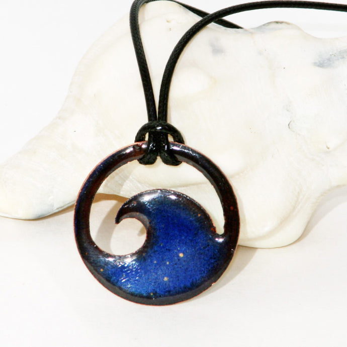 Transparent Royal Blue Enamel Wave Necklace - Seaside Harmony Jewelry