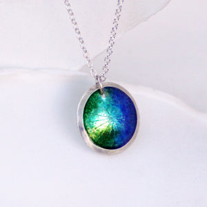 ocean colors fine silver domed enamel necklace blue green turquoise aqua