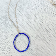 Load image into Gallery viewer, royal blue fine silver open circle karma eternity necklace with sterling silver chain seaside harmony jewelry