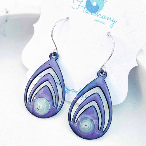 purple lotus enamel murrini spiral earrings seaside harmony