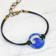 Load image into Gallery viewer, royal blue enamel mini wave bracelet with black cord